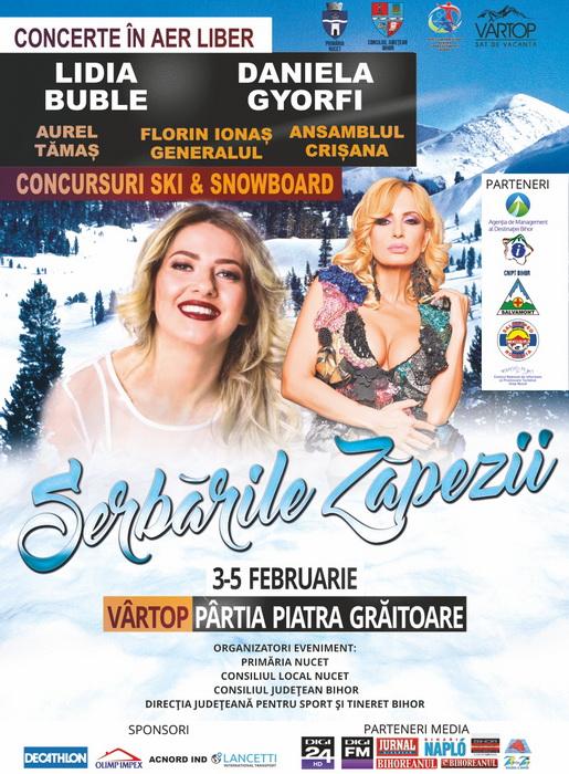 Serbările Zăpezii, la Vârtop Invitaţii speciali ai ediţiei de anul acesta sunt Daniela Gyorfi, Lidia Buble şi Aurel Tămaş